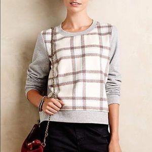 Anthropologie windowpane plaid sweatshirt/sweater